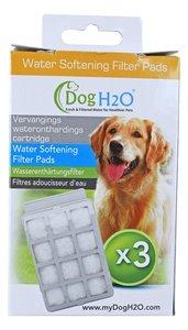 Pak a 3 filtercartridges met waterontharder voor waterbak Dog H2O.