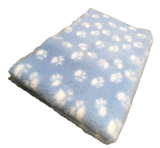 Vet Bed Xtra Soft - 2 color  Paws  latex anti-slip 150 x 100 cm Lichtblauw met Witte Voetprint