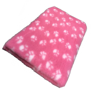 Vet Bed Xtra Soft - 2 color  Paws  latex anti-slip 150 x 100 cm Roze met Witte Voetprint